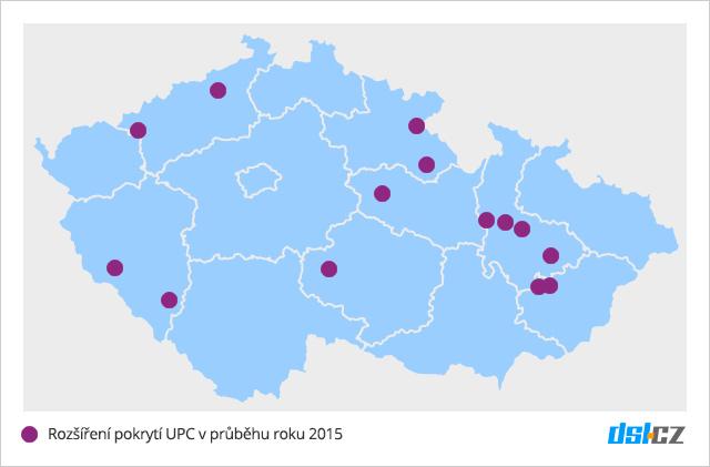 Nově pokrytá města operátorem UPC v roce 2015