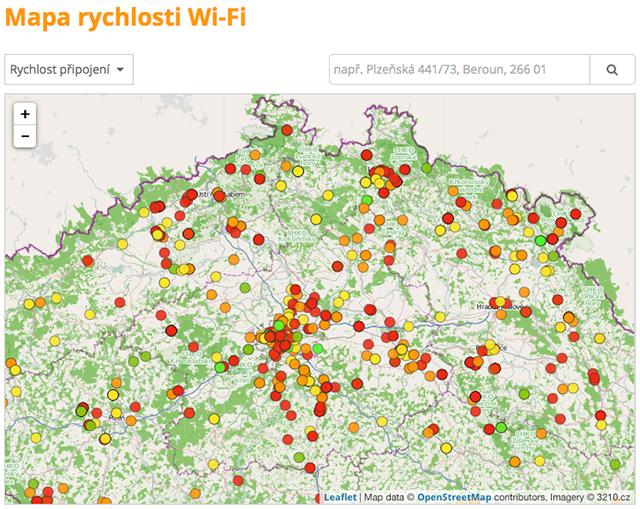 Mapa rychlostí Wi-Fi připojení