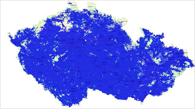 Mapa pokrytí O2 LTE