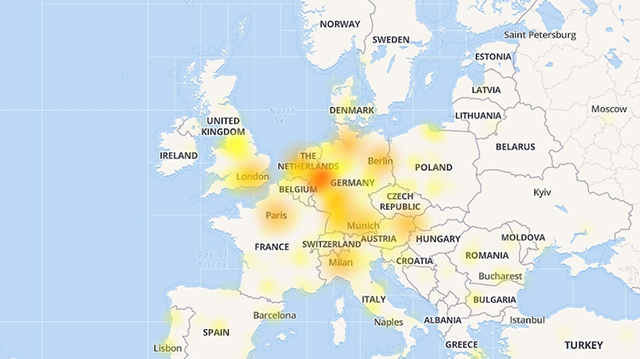 Mapa Evropy - výpadek YouTube