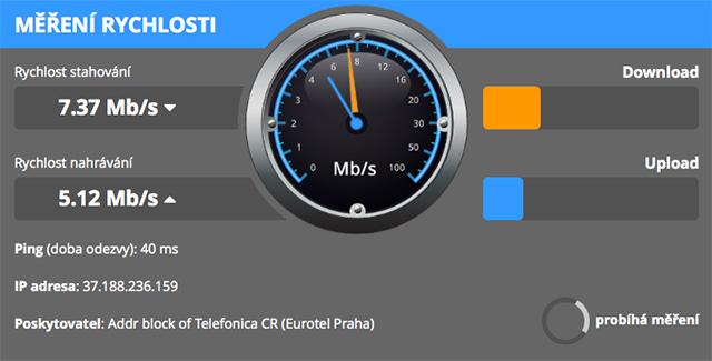 Měření rychlosti internetu DSL.cz