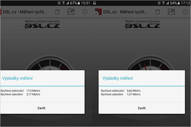 DSL.cz - Měření rychlosti O2 Internet Optimal Air Fix