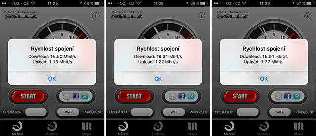 Mobilní aplikace DSL.cz měří rychlost O2 Internetu Optimal Air