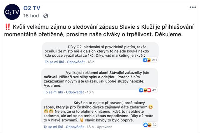 O2 TV reakce