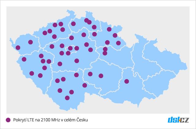 Pokrytí LTE na 2100 MHz v ČR
