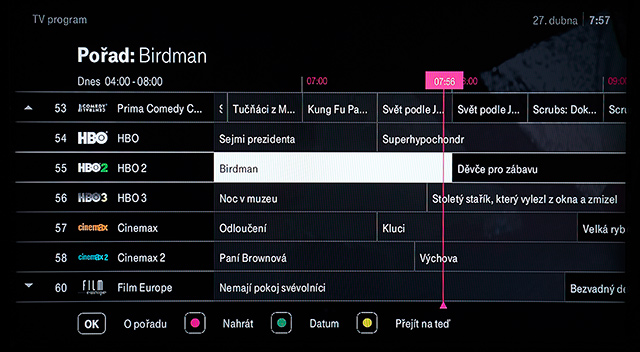 T-Mobile TV EPG televizní program