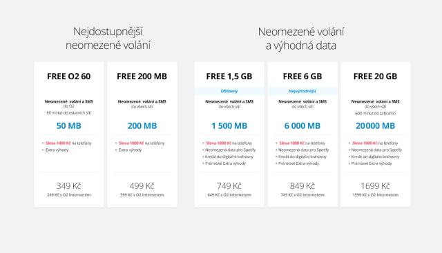 O2 FREE tarify