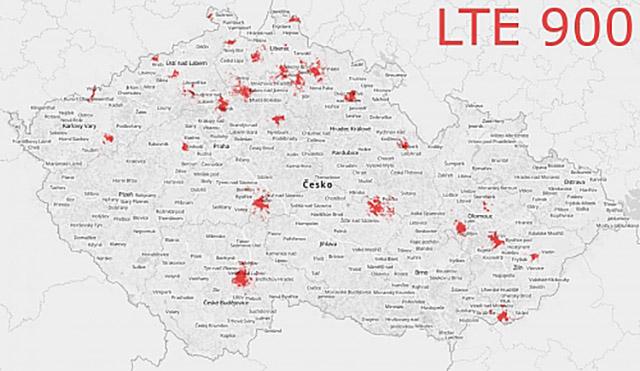 Vodafone - pokrytí LTE na frekvenci 900Mhz