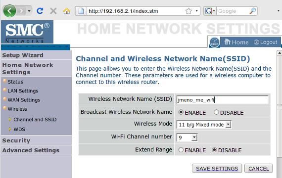 administrátorské rozhraní routeru