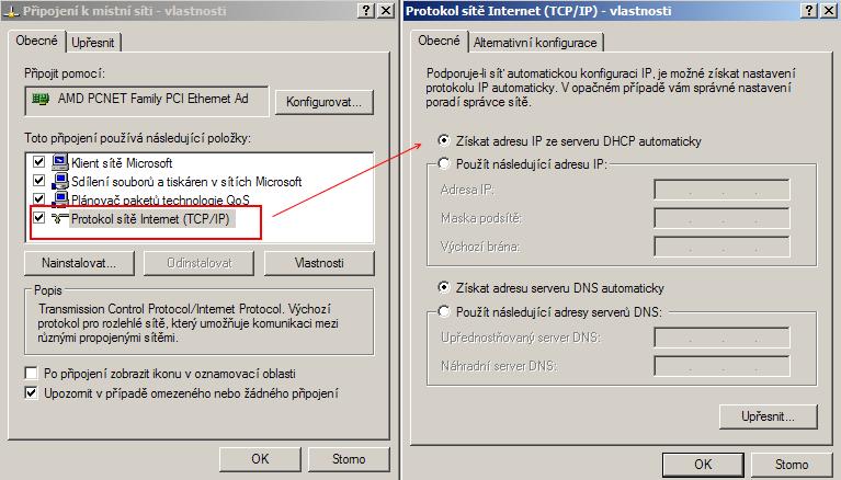 Windows, nastavení TCP/IP